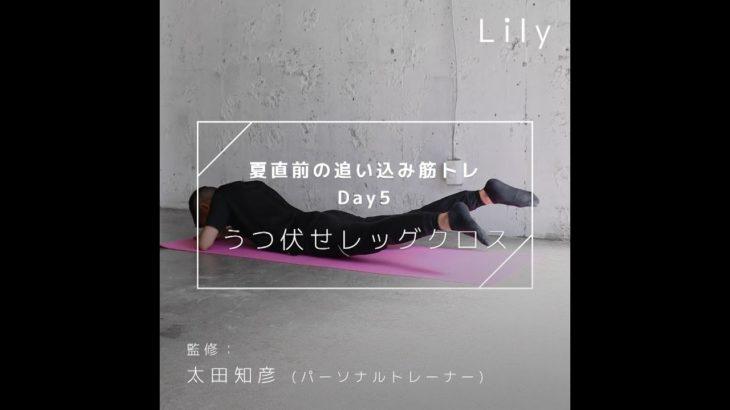 【夏直前】追い込み筋トレダイエットDay5~うつ伏せレッグクロス~