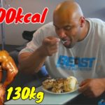 130kgボディビルダーの一日の食事【筋トレ】