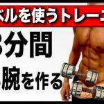 【3分間】自宅で太い腕を作る最強筋トレメニュー6種目!【ダンベル】