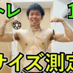 筋トレ1年間続けると腕周り、胸囲、太ももどれくらいになったか測定じゃ!