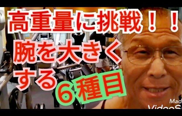 《じぃじの筋トレ》オフシーズン腕トレ2回目!!スカルクラッシャー重量更新!!と6種目で腕を追い込む!!
